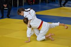 Orenburg, Russia - 05 November 2016: Girls compete in Judo Stock Photos
