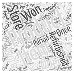 Save Money when you Purchase Refirbished Products word cloud concept Stock Illustration