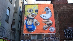 Colorful Street Art in Manhattan New York City Stock Footage