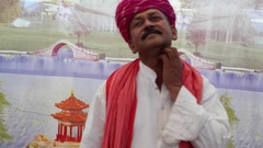 MS Rajasthan male in making lost and thinking and hand gestures Stock Footage