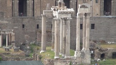 Columns Ruins Roman Empire Ancient Remains in Rome Historical Museum. Stock Footage