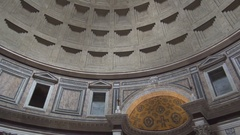 Pan View Inside Pantheon Building Cupola View Imposing Old Art Monument. Stock Footage