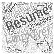 Quick Resume Writing Tips Evaluating Your Resume word cloud concept Stock Illustration