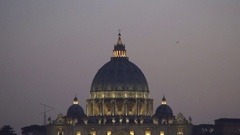 Basilica Di San Pietro Exterior View Lighted Cupola in Crepuscular Light. Stock Footage