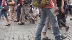 Rush Hour in Piazza Di Spagna Square Tourists Walking on Cobbled Street.  Stock Footage