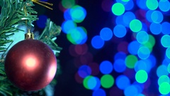 Christmas Tree With Decorations Background Bokeh Illumination Stock Footage