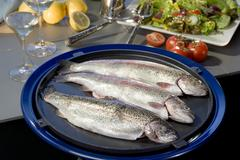 Fresh raw sea fish ready to be cooked  Mediterranean seafood cuisine Stock Photos