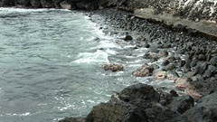 Ocean Waves On Black Lava Rock Shore Line Kona Hawaii Stock Footage