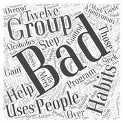 Support Groups for People with Bad Habits word cloud concept Stock Illustration
