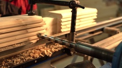 Sawmill. View of running machine tool with drill Stock Footage