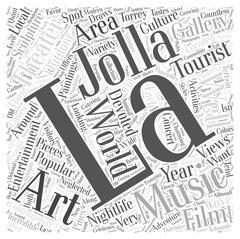 La Jolla Entertainment word cloud concept Piirros