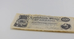 Civil War Confederate States of America $500 Dollar Note on White Stock Footage