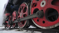 Locomotive Under Steam on Siding. Concept - Comparison - Ice and Fire. Audio Stock Footage