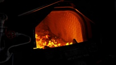 Concept of Power. Steam Train Oven. Fire of locomotive. Heavy Manual Labor Stock Footage