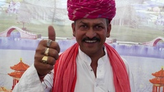 MS Rajasthan male in making satisfied hand gestures and wishing a thumbs up Stock Footage