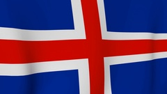 Iceland - National flag waving in the wind Stock Footage