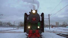 Locomotive Under Steam on Siding Ready to Go. Concept Symbol Bygone Era. Audio Stock Footage