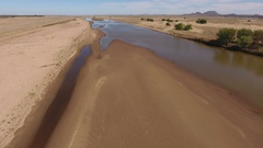 Aerial view of the Caledon river during the dry season, South Africa Stock Footage