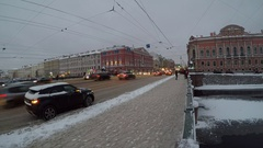 Day and night on Anichkov Bridge, St. Petersburg, Russia Stock Footage