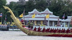 Royal Thai Barge Procession rear of vessel Stock Footage
