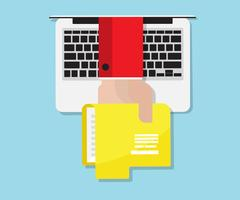 Hand holding folder from laptop, data communication concept Stock Illustration