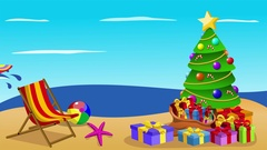 Santa Claus surfing xmas time animation Stock Footage