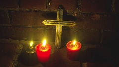 Christian candles cross jesus christianity 2 Stock Footage