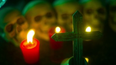 Crypt skull cross creepy christian Stock Footage