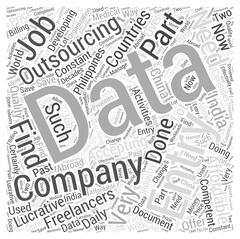 Data entry outsourcing word cloud concept Stock Illustration