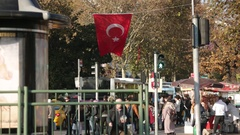 Typical Busy Istanbul Street (with Turkish flag) Stock Footage