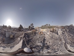 Israeli Homeland Security Soldiers break concrete, rescue injured victims 360VR Stock Footage