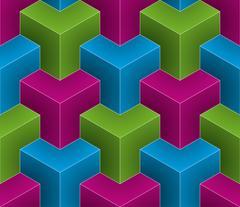 Multicolor Isometric Seamless Pattern. Stock Illustration