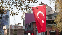 Turkish Flag in Istanbul Stock Footage