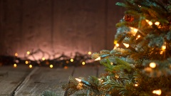 Christmas Holiday Background. Christmas tree and garlands. Stock Footage