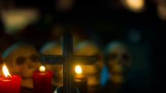 Crypt skulls cross religon  christian Stock Footage