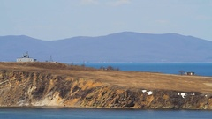 Rocky peninsula on the sky Stock Footage