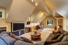 Upstairs living room interior of luxury house. Stock Photos