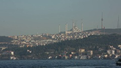 Ferry going across the Bosphorus (Istanbul) Stock Footage