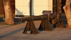 Traditional Artillery on the Embankment of Bosphorus Stock Footage