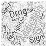 Recognizing Drug Addiction word cloud concept Stock Illustration