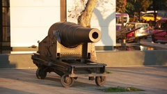 Old Canon on the embankment of Bosphorus in Istanbul Stock Footage