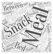 When you are Hungry in Between Meals word cloud concept Stock Illustration