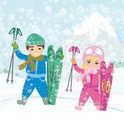 Children skiing Stock Illustration