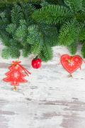 Christmas fresh evergreen tree branches Stock Photos