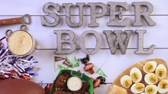 Snacks for watching a football game. Stock Footage