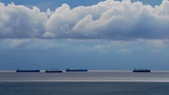 Cargo Ships in the Black Sea Stock Footage