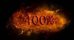 Fire flame explosion on black background Red 400 percent % on fire flame explosi Stock Illustration