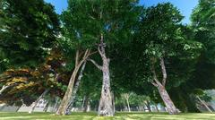 Green city park in sunny and beautiful summer day 3d rendering Stock Illustration