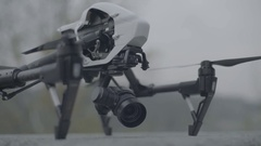 Drone (quadracopter) on the ground before takeoff Stock Footage