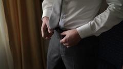 Man wearing belt close up Stock Footage